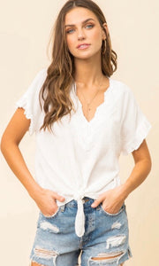 Aryssa Off White Lace Trim Tie Front Blouse Top