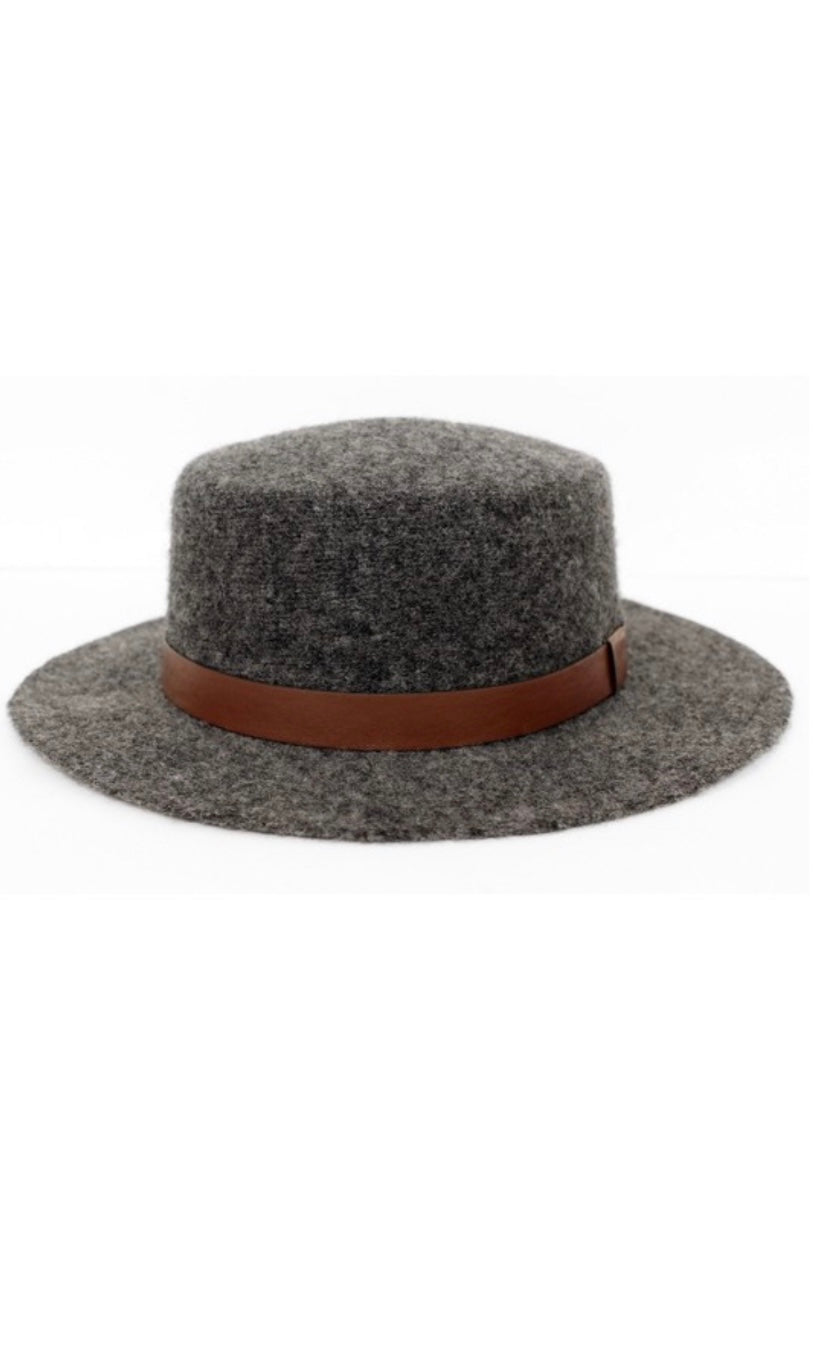 Creede Grey Felt Small Brim Boater Hat