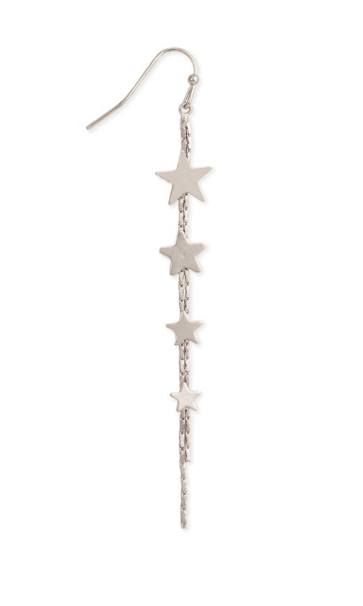 Magical Silver Falling Stars Linear Earrings