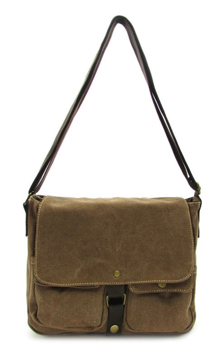 Barkley Washed Brown Canvas Crossbody Messenger Bag