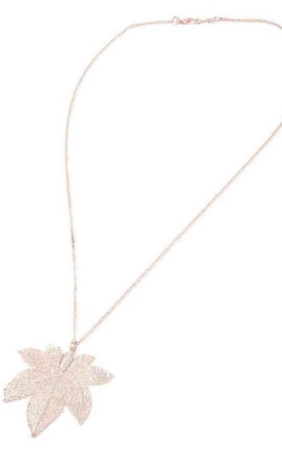 Leaf Pendant Necklace Rose Gold
