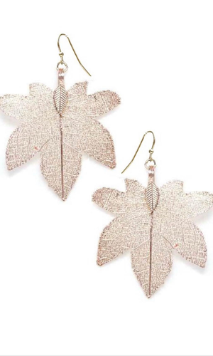 Filigree Tree Leaf Earrings Rose Gold