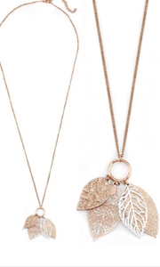 Multi-Leaf Filigree Long Necklace Rose Gold