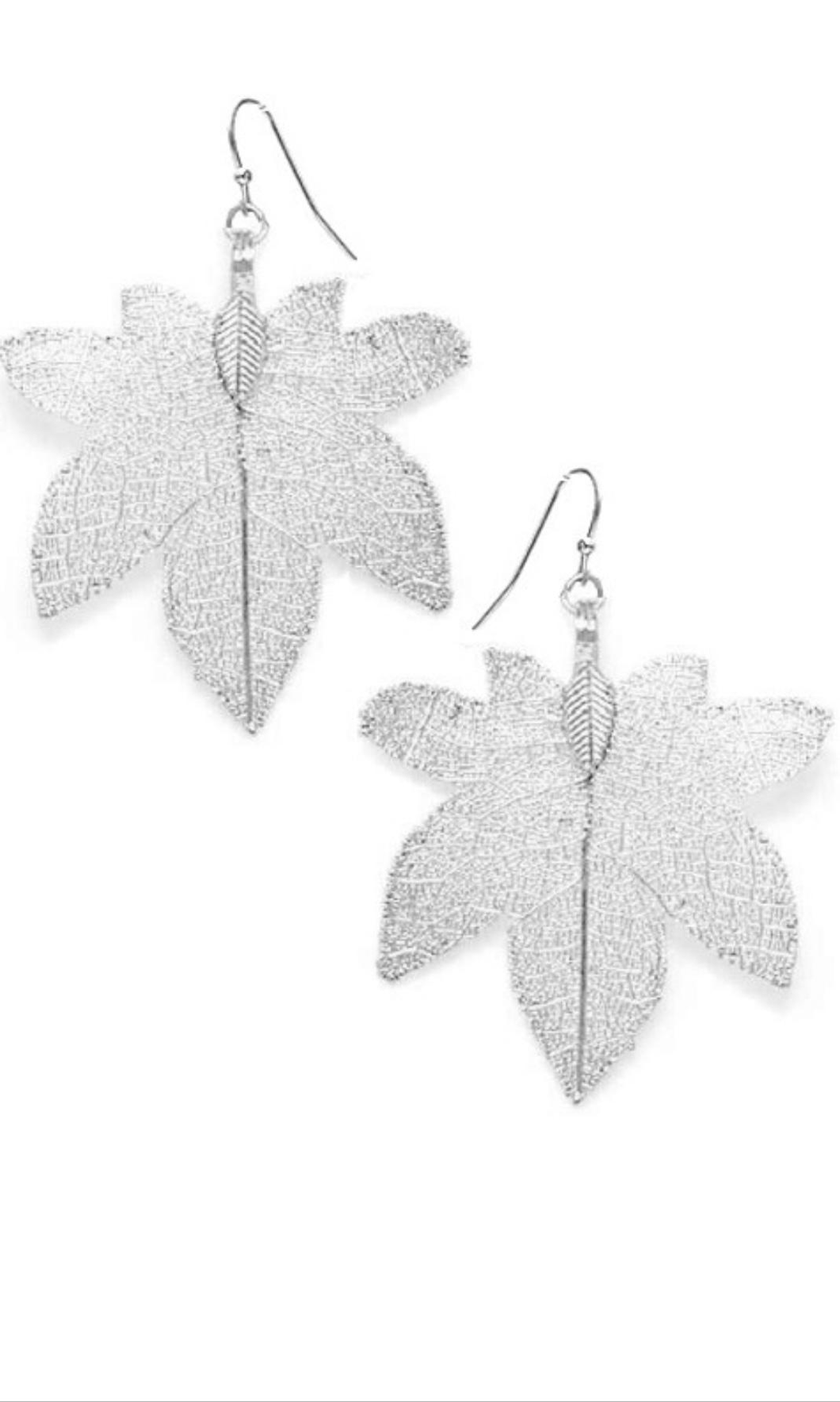 Filigree Tree Leaf Earrings Silver