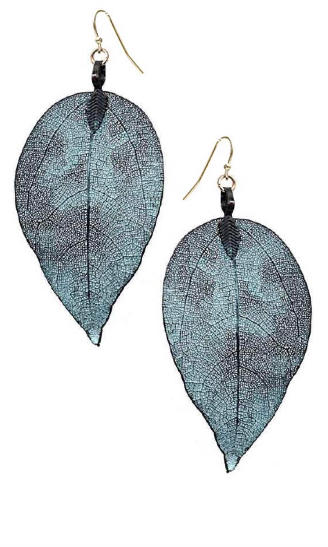 Filigree Leaf Earrings Patina