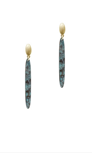 Fashion Patina Metal Stick Earrings