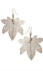 Filigree Tree Leaf Earrings Gold