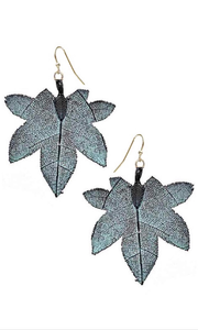 Filigree Tree Leaf Earrings Patina