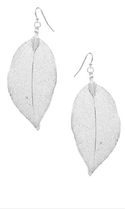 Filigree Leaf Earrings Silver