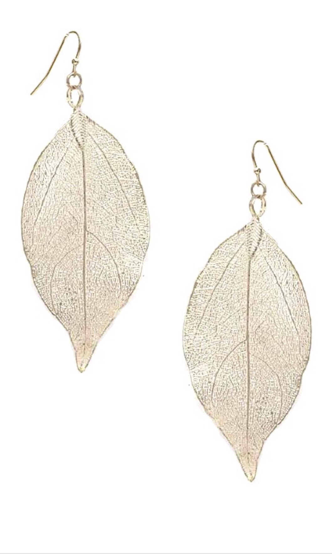Filigree Leaf Earrings Gold