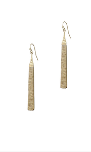 Hammered Flat Bar Earrings Gold