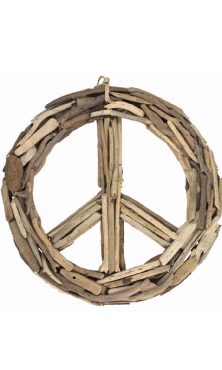 Driftwood Washed Wood Decor Peace Sign