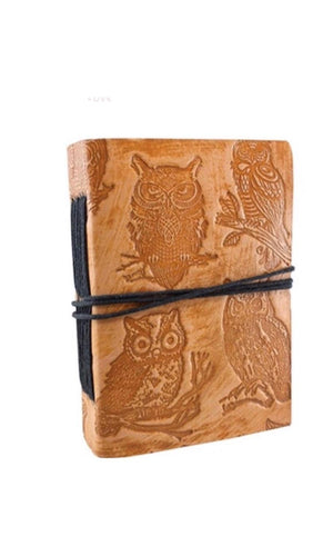 Journaler's Owl Embossed Leather Journal With Tie