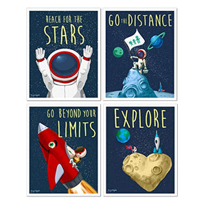 Space Art pack of 4 wall art kids room cute prints Young N Refined