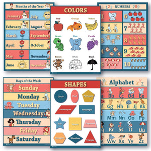 6 Educational Poster Pack Laminated or Gloss Preschool Classroom 18x24 - Young N' Refined