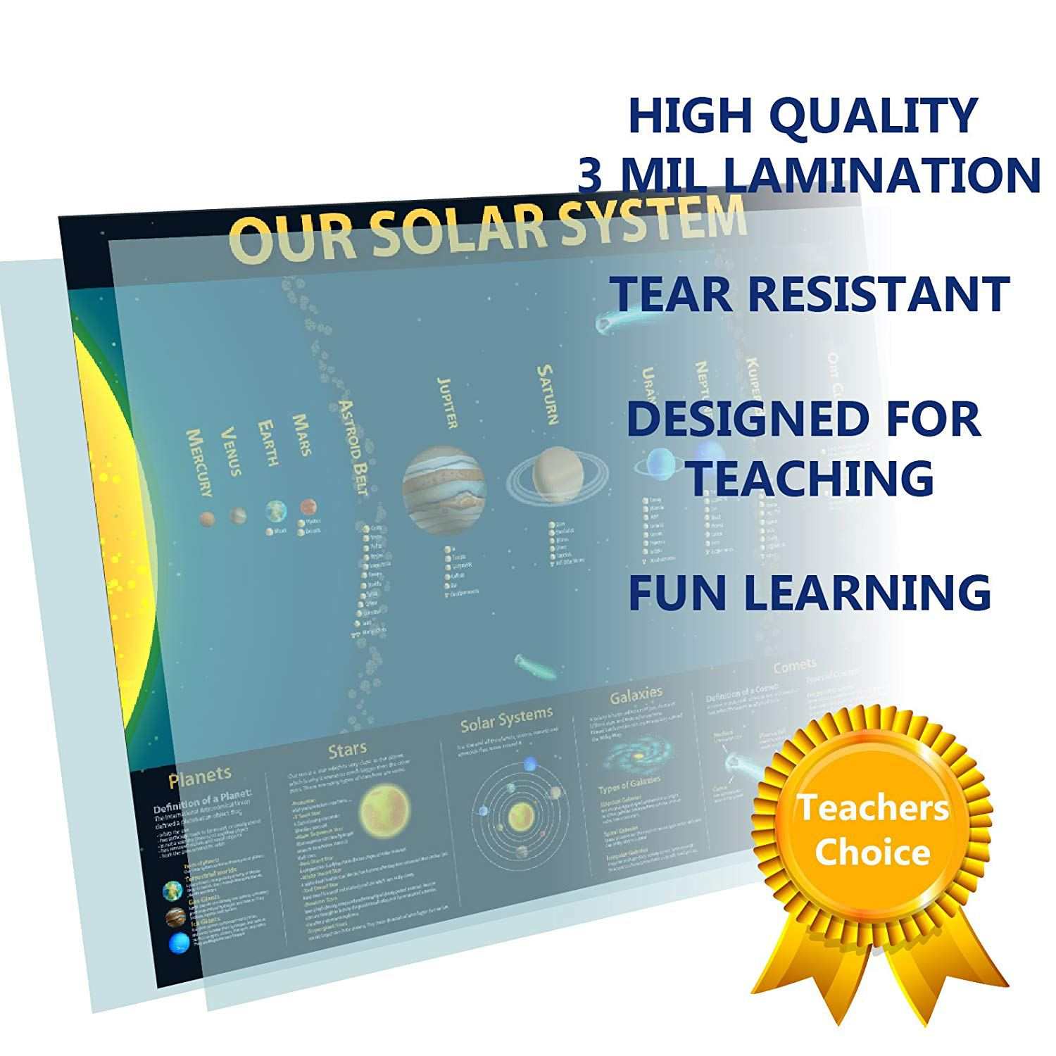 Educational Planets Solar System Chart Laminated Classroom Poster - Young N' Refined