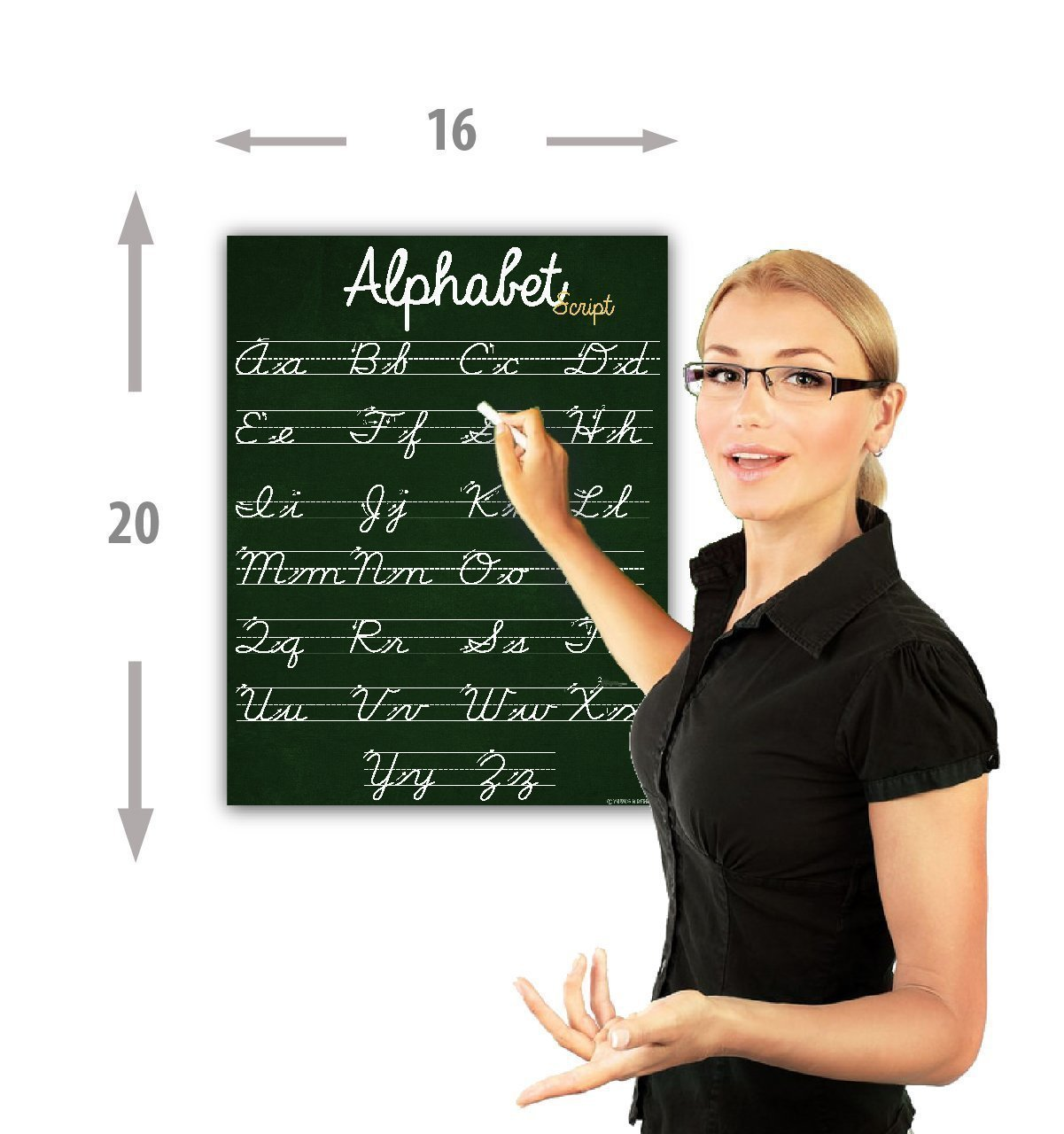 ABC Cursive Script Alphabet Chart Laminated Classroom Poster - Young N' Refined