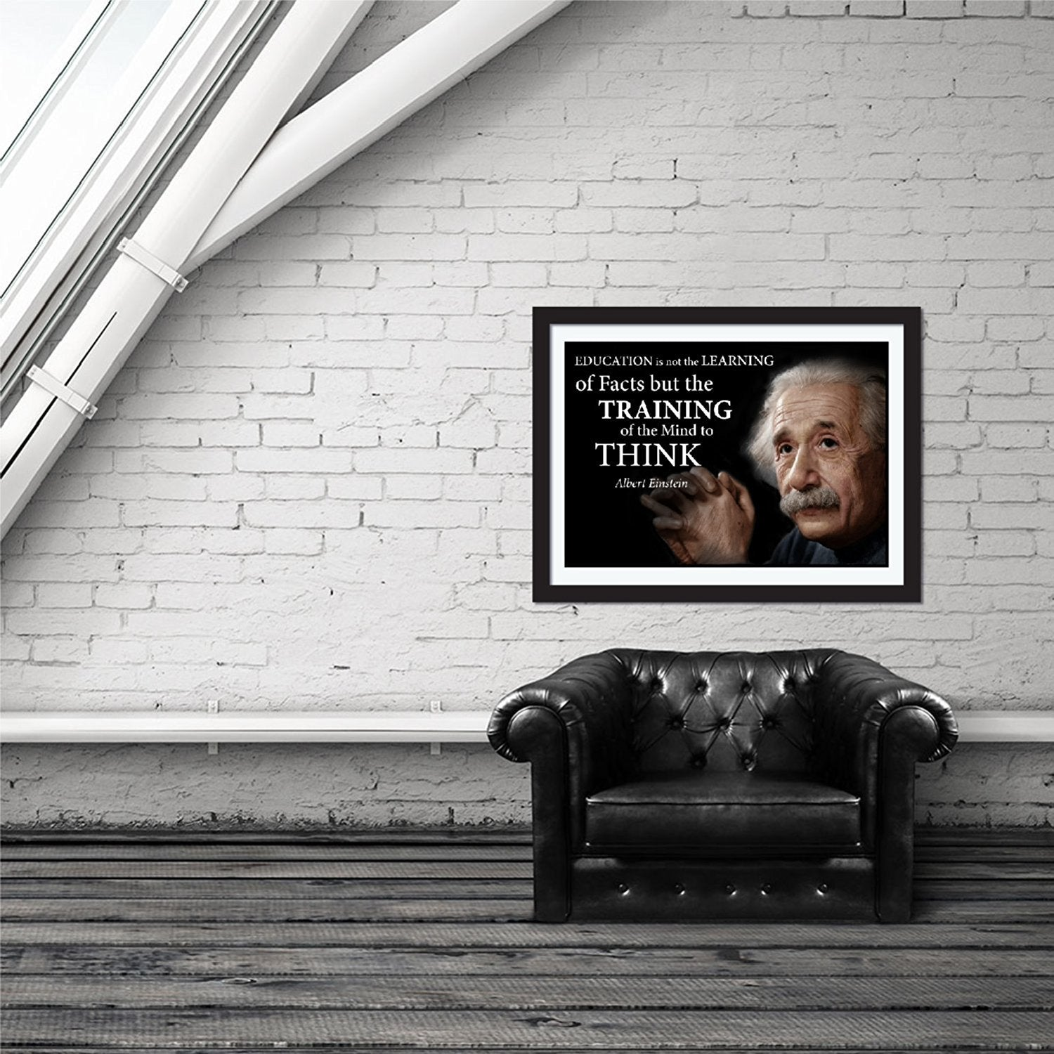 Albert Einstein Education Poster for Home Library Classroom or Office - Young N' Refined