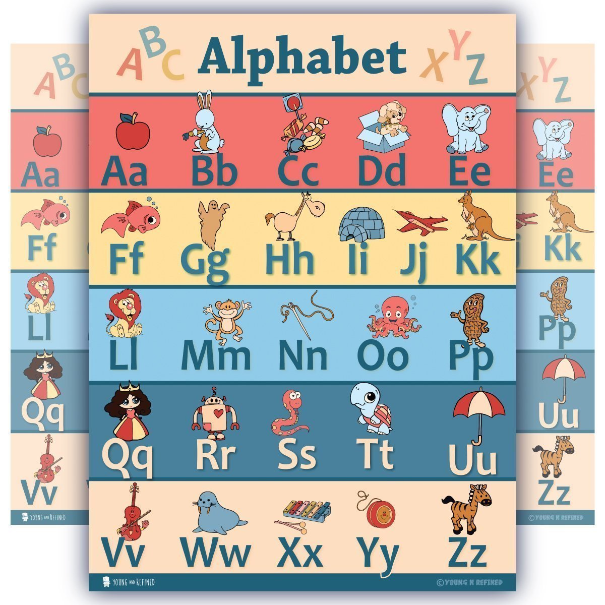 Learning Colorful ABC Chart Poster Preschool Classroom
