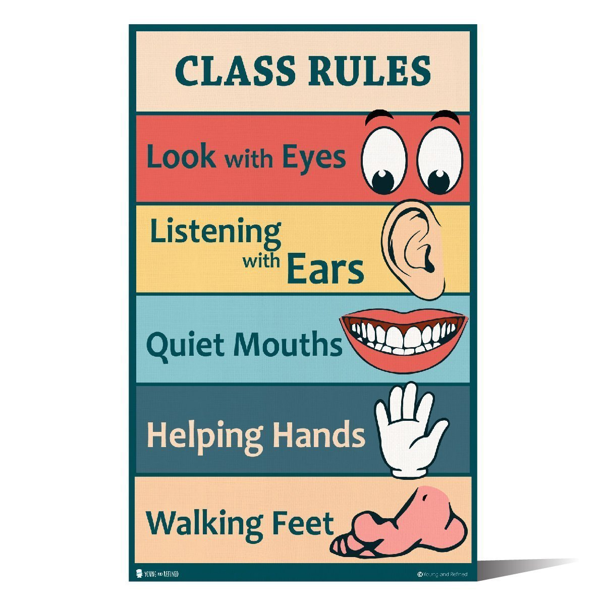 Classroom Rules Sign Chart Laminated Classroom Teacher Poster - Young N' Refined