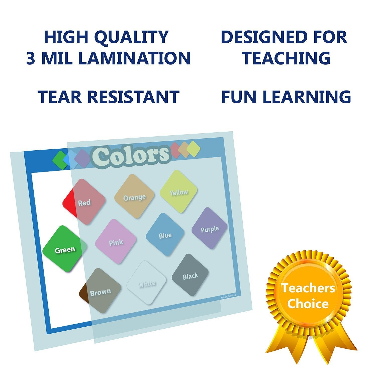 Children Learning Colors Chart Laminated Classroom Poster - Young N' Refined