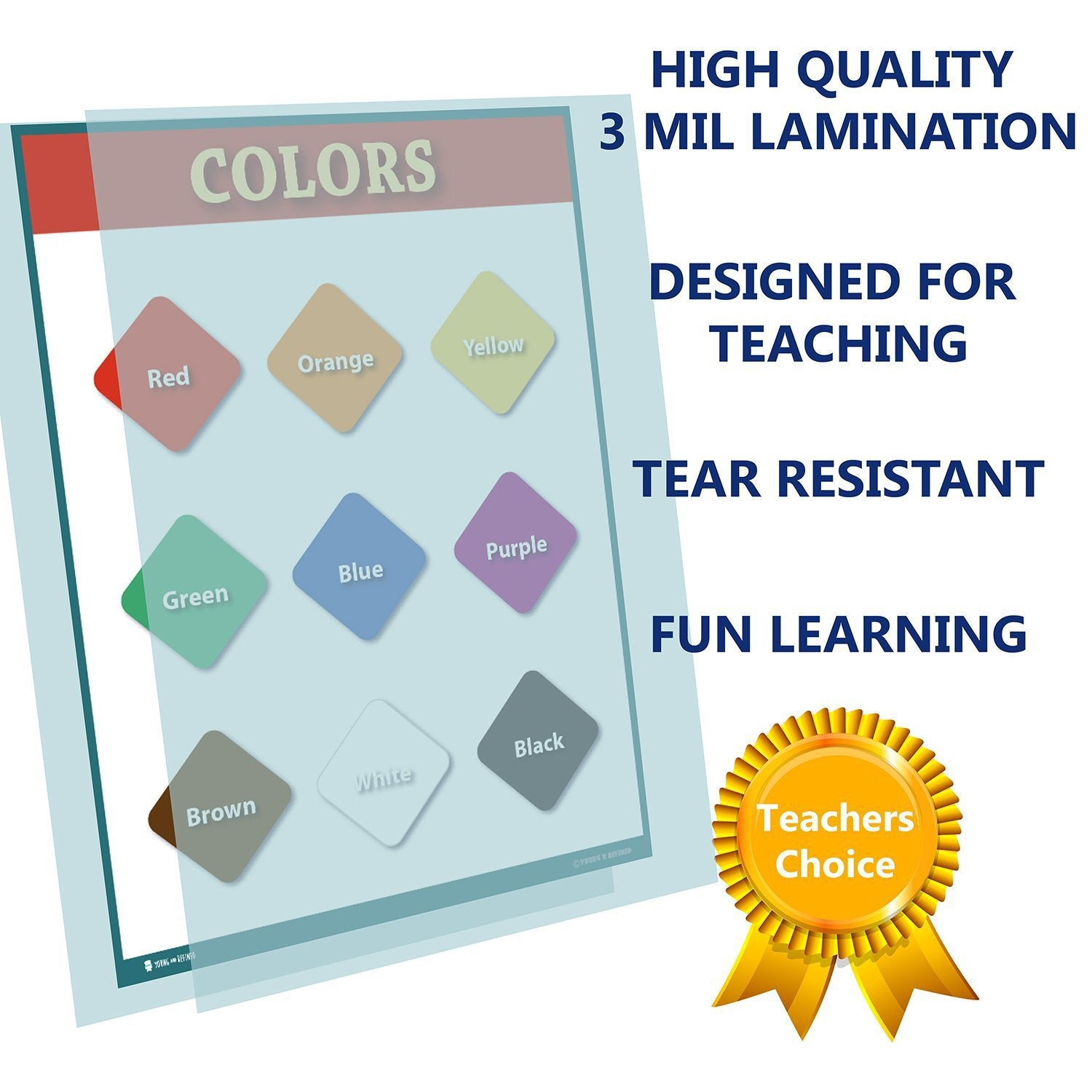 Learning Colors Preschool Chart Laminated Classroom Teacher Poster - Young N' Refined
