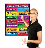 Days of the week Lamintated Educational chart fun poster for kids and teachers with funny lines and animals - Young N' Refined