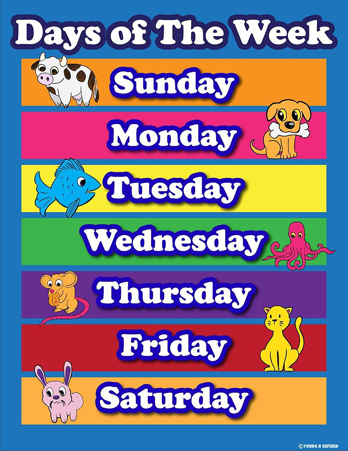 Learning Days of the week elementary school teachers aid. Laminated poster chart - Young N' Refined