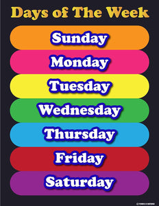 Learning Days of the week elementary school teachers aid. Laminated poster chart colored tabs on black background - Young N' Refined