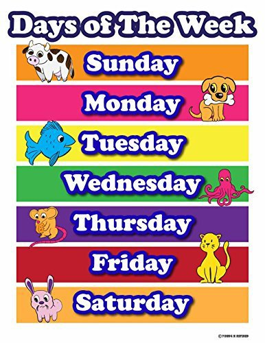 Learning Days of the week elementary school teachers aid. Laminated poster chart colored tabs on white bacgkround with animals - Young N' Refined