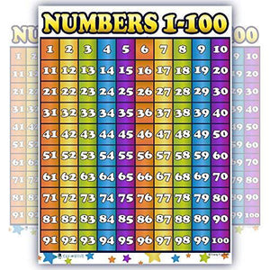 Counting 1 to 100 Number Chart Laminated Classroom Teacher Poster - Young N' Refined