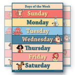 Learning Days of the Week Chart Laminated Education Classroom Poster - Young N' Refined