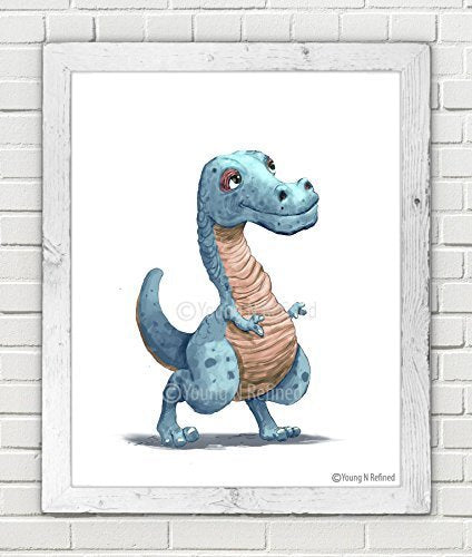 "Lil T-Rex dinosaur print wall art for little boys or girls bedroom Blue (11"" x 14"") - Young N' Refined"