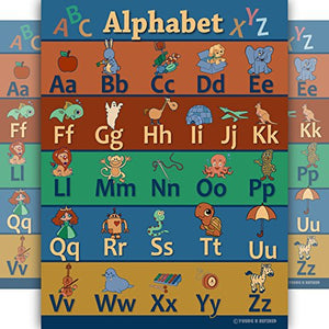 Rustic vintage feel educational poster for learning ABC's LAMINATED alphabet with colorful cute decoration classroom design edu - Young N' Refined