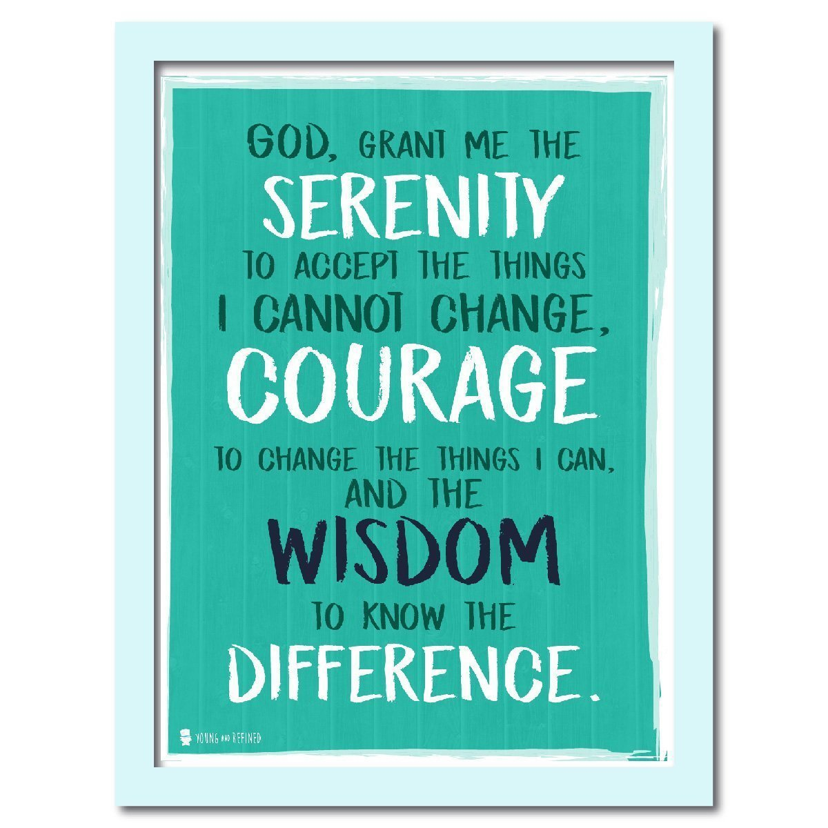 Serenity prayer wall art perfect for decorating kitchens homes bathrooms bedrooms hallways Aqua - Young N' Refined