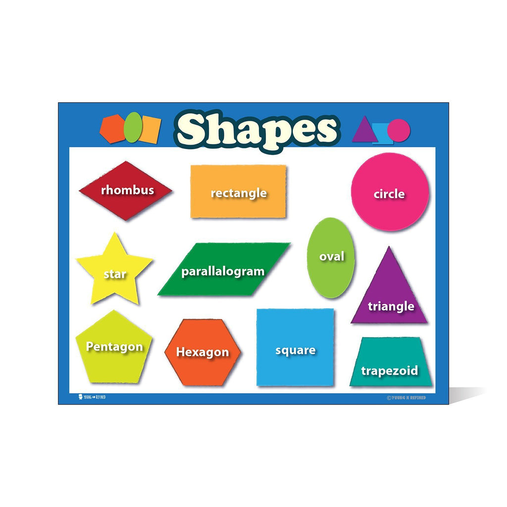 Colorful Shapes Toddler Chart Laminated Classroom Teacher Poster - Young N' Refined