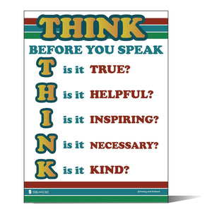 Motivational Think Before You Speak Chart Laminated Classroom Poster - Young N' Refined
