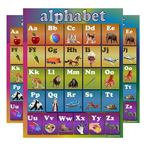 Learning Rainbow Alphabet ABC Chart Laminated Classroom Poster - Young N' Refined