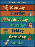 Vintage Days of the Week Chart Laminated Classroom Poster - Young N' Refined
