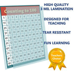 Learning Counting 1 to 100 Number Chart Laminated Classroom Poster - Young N' Refined