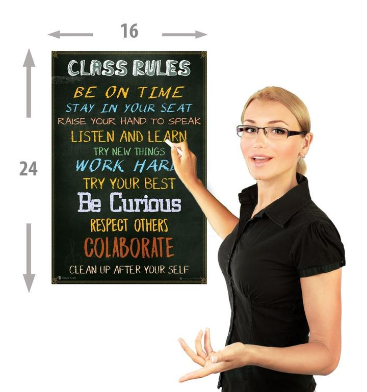 Classroom Rules Chart Laminated Classroom or Study Hall Poster - Young N' Refined