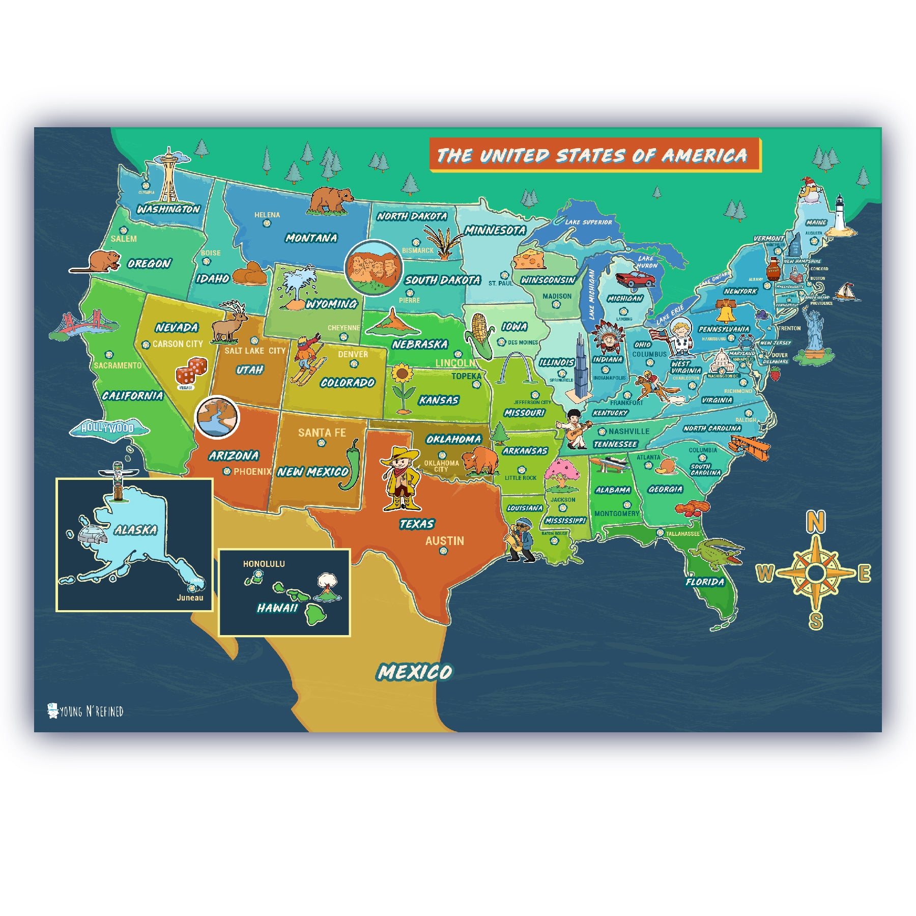 USA Map for kids LAMINATED Large Poster beautifully illustrated