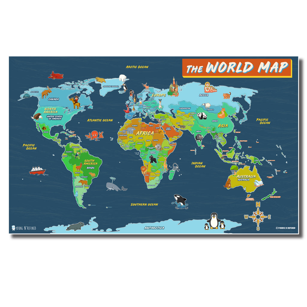 Illustrated World map poster for kids Laminated