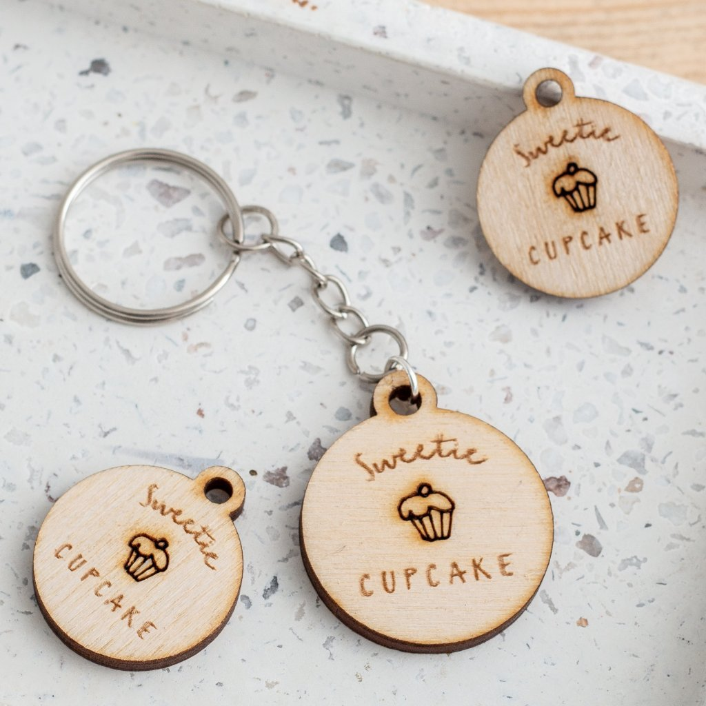 Custom Engraved Wooden Logo Keyrings - Funky Laser
