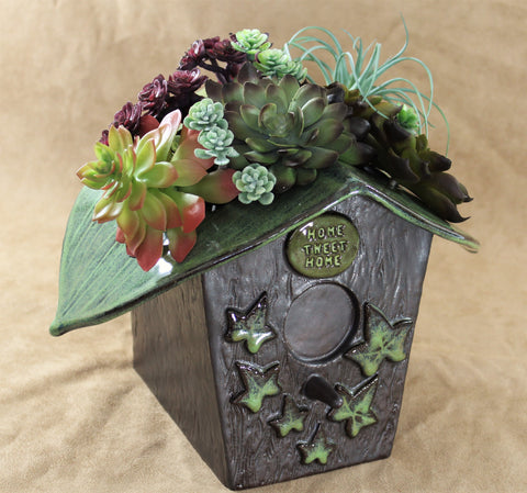 Bird House Planter by Lisa D Pottery