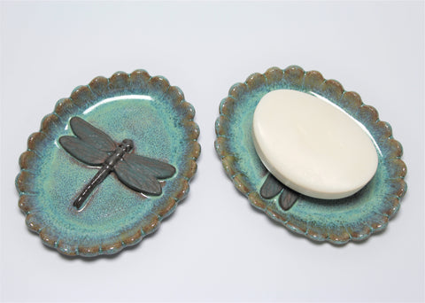 Dragonfly Soap Dish / Jewelry Dish by Lisa D Pottery
