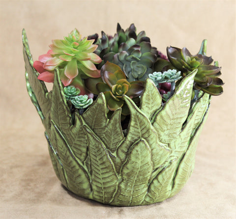 Fern Bowl Succulent Planter by Lisa D Pottery
