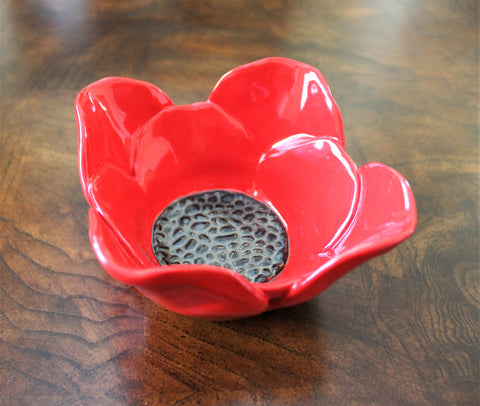 Small Red Poppy Bowl by Lisa D Pottery