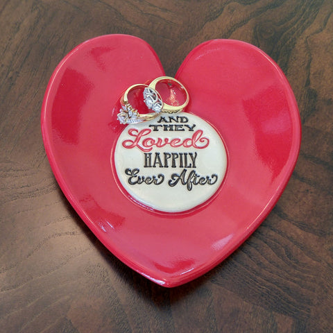 Red Heart Dish by Lisa D Pottery