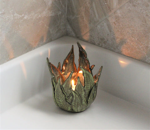 Fern Candle Holder by Lisa D Pottery